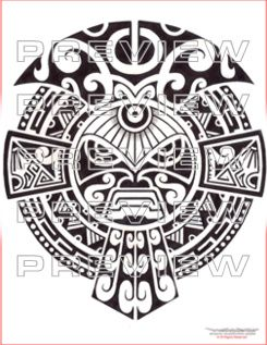 prehispanic tribal mask  tattoo design