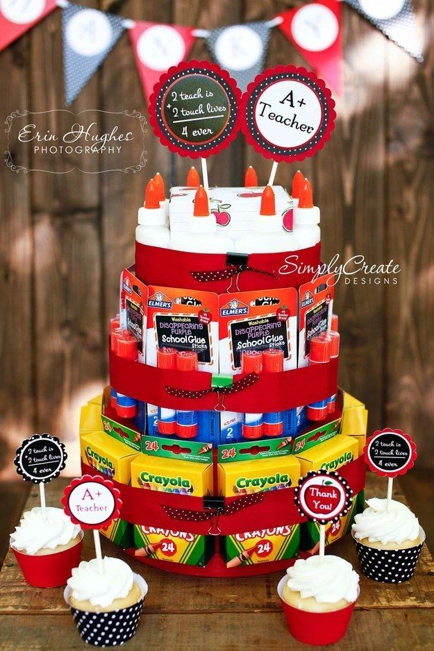 """You can make your kid's teacher a """"Back to School Supply Cake"""" using dollar store items."""