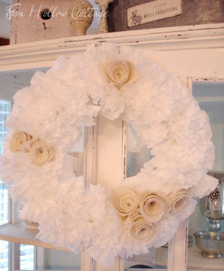: Memorial Filters Wreaths, Decor, Coffee Filters Wreaths, Burlap Wreaths, Crafts Ideas, Burlap Flowers, Coffee Filter Wreath, Burlap Roses, Crafty
