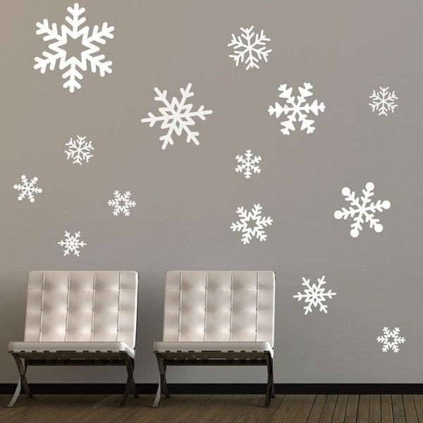 christmas decorations wall design gray snowflakes