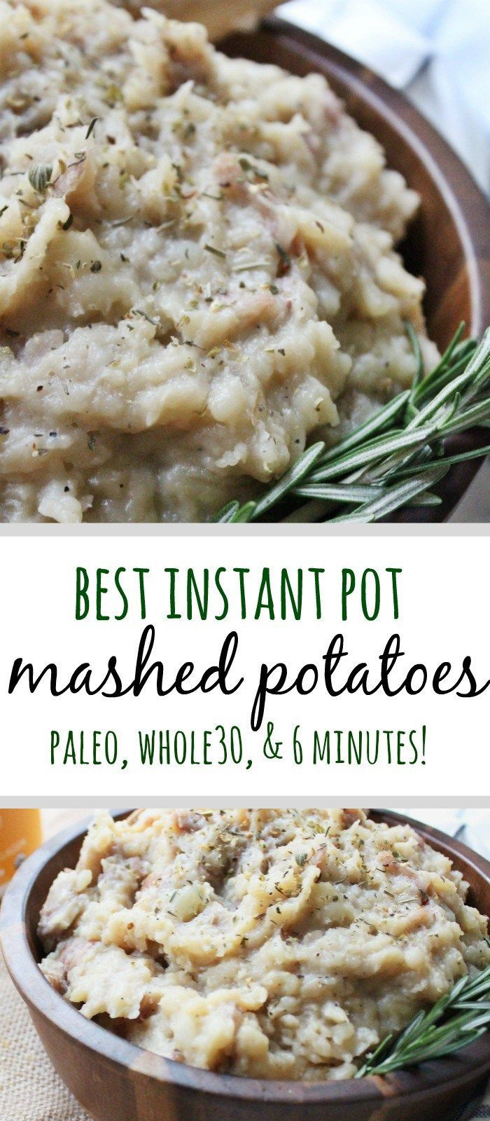 The best ever recipe for dairy free mashed potatoes! These instant pot mashed potatoes are a good paleo side dish, holiday Whole30 side dish, and even have stovetop instructions! #paleosidedish #paleomashedpotatoes #paleoholiday #whole30holiday #whole30side #whole30potatoes via @paleobailey