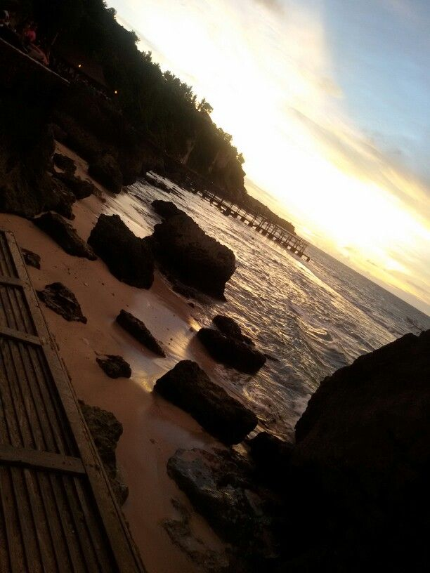 sunset at rockbar Jimbaran Bali