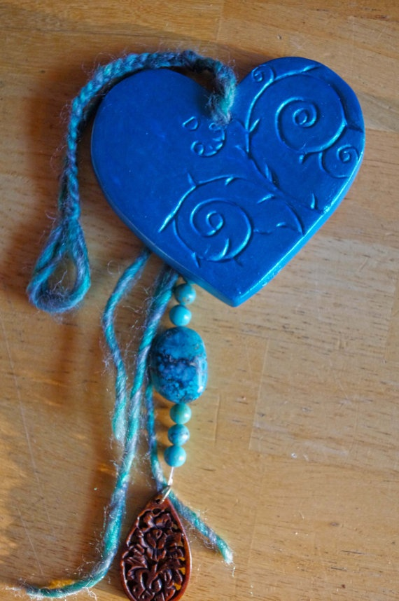 Periwinkle Metallic Heart hanging with Turquoise beads by bhaskara, $12.50