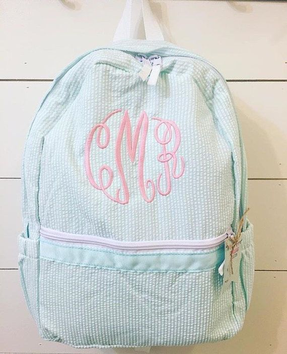 Monogrammed backpack seersucker backpack boys backpack