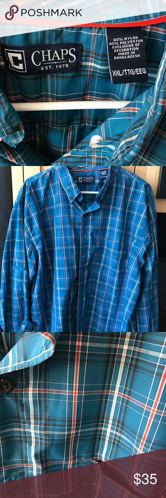 Chaps shirt Ralph Lauren Chaps button down shirt. Worn once. Laundered. The photo number one and number three depict the color of the shirt the best. It is more of a greenish turquoise. Orange stripes throughout. Chaps Shirts Casual Button Down Shirts
