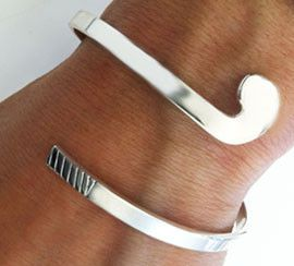 Field Hockey Stick Wrap Bracelet in Sterling Silver