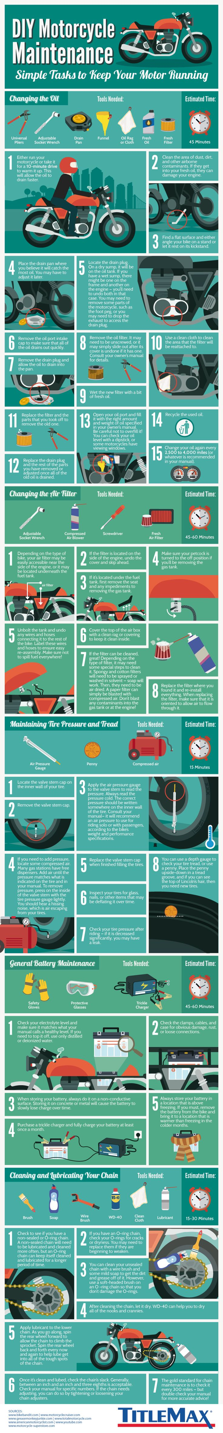 DIY Motorcycle Maintenance - TitleMax.com - Infographic