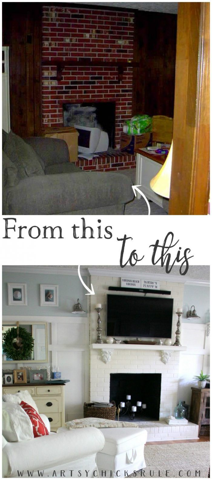 Save Space! Put the TV over fireplace! Family Room Makeover! artsychicksrule.com