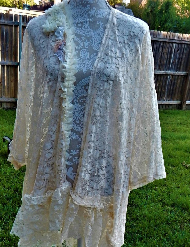 size,Altered Women's Lacey Crocheted Top, Altered Couture,Maglonia Pearl Style- Plus , Lace Bottom Shabby Chic,Romantic Jacket ,Cream Jacket by CrossMyHeartBags on Etsy