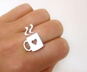 coffee mug ring. Cute: Handmade Silver, Gifts Ideas, Style, Teas, Memorial Lovers, Sterling Silver Rings, Accessories, Coffee Rings, Coffee Mugs