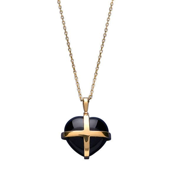 W Hamond Pendant Whitby Jet Gold And Large Cross Heart With Chain P1542 | W Hamond - The Original Whitby Jet Store Est.1860