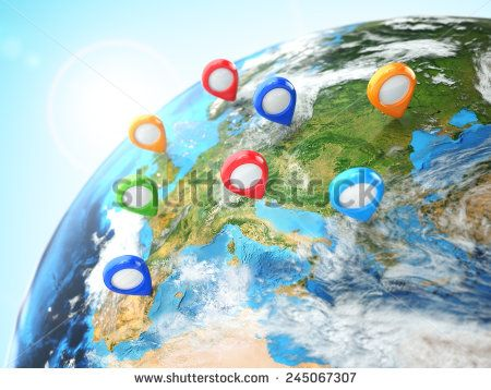Travel destination concept. Pin on earth. Navigation. 3d Elements of this image furnished by NASA - stock photo