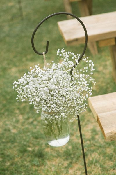 More #babysbreath! This time in #masonjars as #aisle markers {Lissa Anglin Photography}