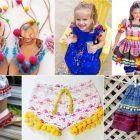 looks e vestidos de festa junina com pompons - Moda infatil