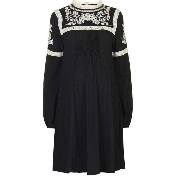 TOPSHOP MATERNITY Embroidered Dress ($68) ❤ liked on Polyvore featuring maternity and black