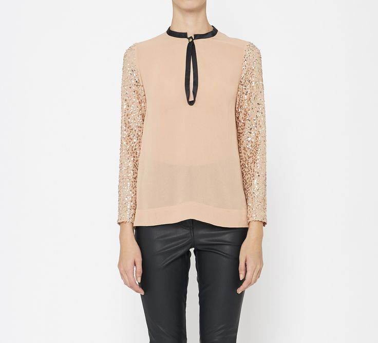 By Malene Birger Blush, Black And Gold Top : Holiday Blouse