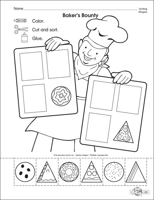 Preschool Shape Crafts on Clean Teeth Worksheet Sorting