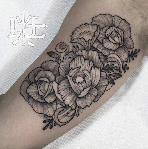 Dotwork floral tattoos by Lawrence Edwards