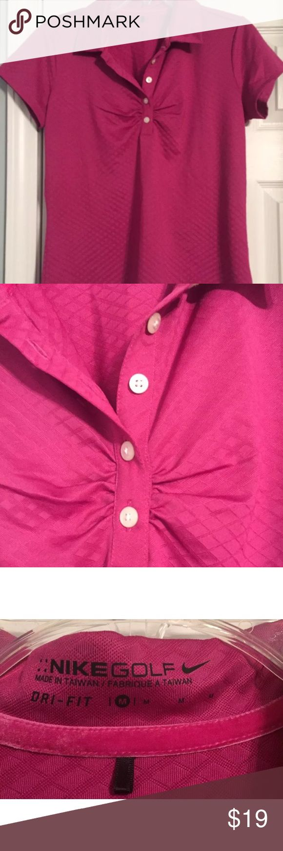 Nike Women's Golf Dri-Fit Diamond Polo Shirt Med The Nike Women's Golf Polo Shirt   94% Dri-Fit polyester 4% spandex 5-button placket with Nike printed on buttons Diamond Patterned fabric Fold over collar Ruching detail at bust and sleeves Hot Pink Color Nike Dri-Fit fabric which wicks away moisture and keeps you dry Machine Washable Great Condition No Smoke/Animals Nike Tops Tees - Short Sleeve