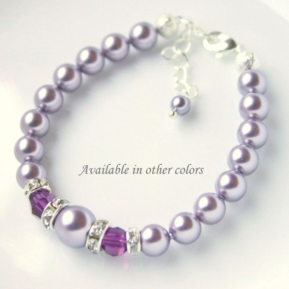 Flower Girl Bracelet, Purple Bracelet, Swarovski Mauve (Light Purple)  and Amethyst  Bracelet on Etsy, $18.00 CAD
