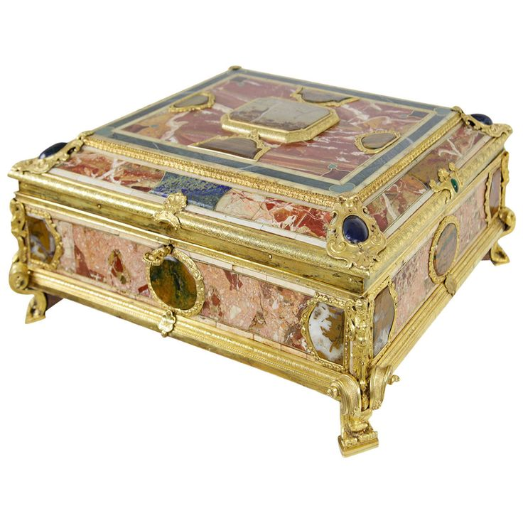 Stunning Document Casket with Marble and Semi-Precious Stones Occupied | From a unique collection of antique and modern decorative boxes at https://www.1stdibs.com/furniture/more-furniture-collectibles/decorative-boxes/