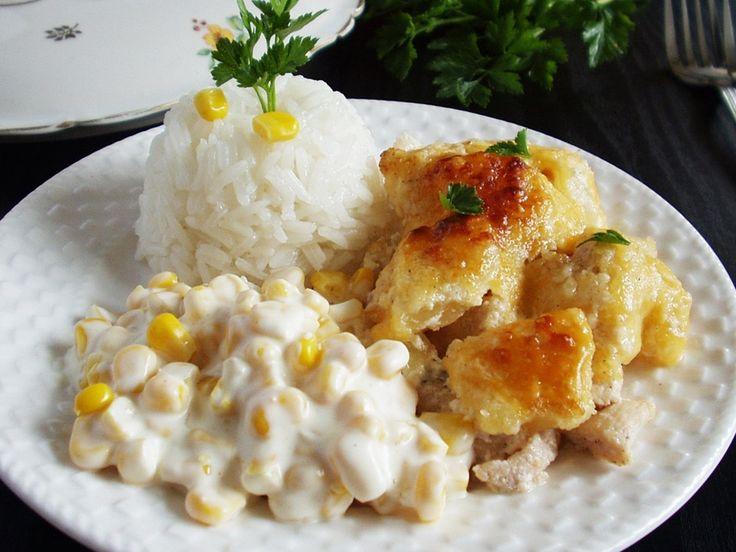 Ananászos csirkemell rizskörettel, majonézes kukoricasalátával | Katarzis