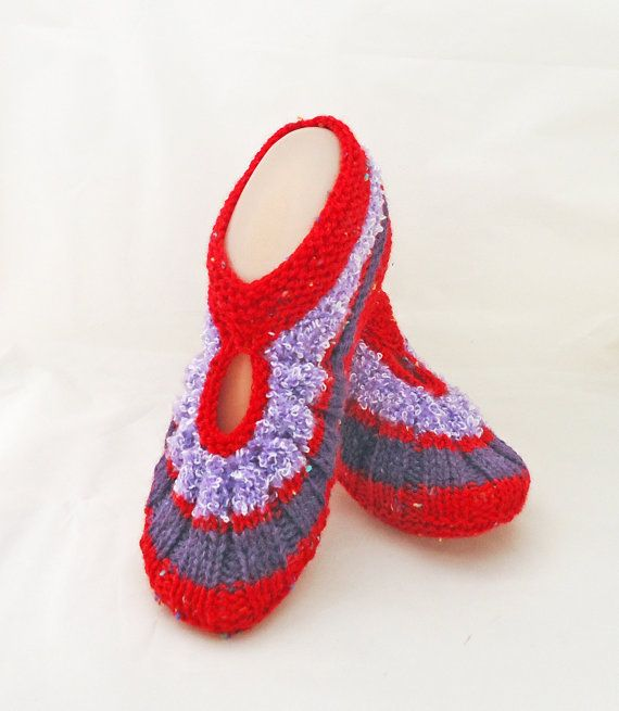 Knitted Socks / Slippers in Red Red and Purple Hand by evefashion