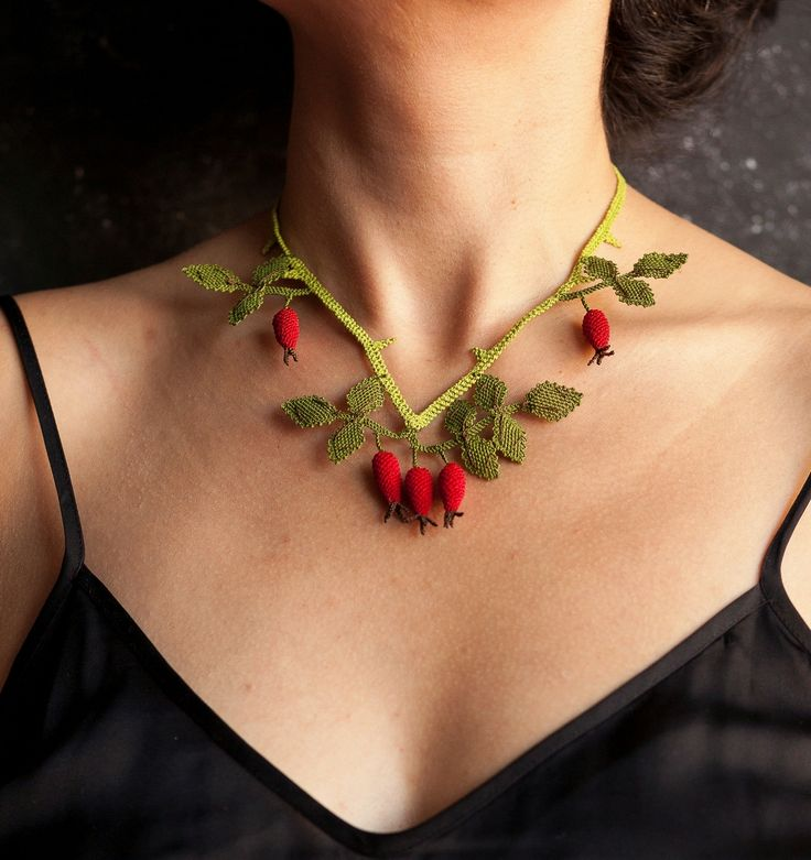 """Rose hip"" silk lace jewelry necklace 