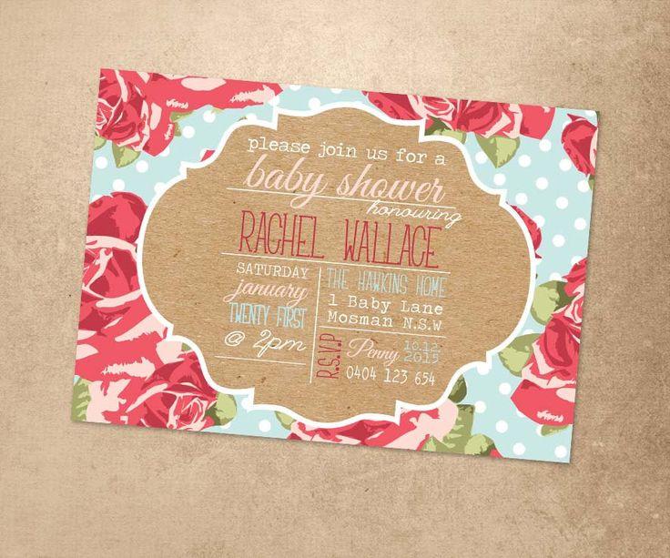 Printable Digital File   Rustic Design Baby Shower Invitation   Print At  Home Baby Shower Invitation