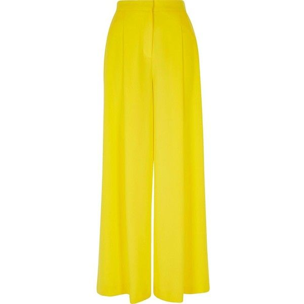 River Island Yellow wide leg pants (€75) ❤ liked on Polyvore featuring pants, wide leg pants, women, yellow, tall wide leg trousers, yellow wide leg pants, zipper trousers, yellow trousers and woven pants