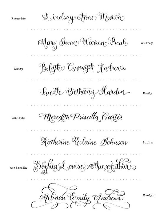 Calligraphy fonts for letterpress invitations.