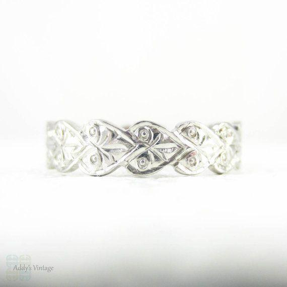 Anello di nozze vintage platino mano ha inciso la foglia o di Addy