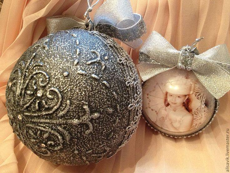 Купить Елочный шар с фотографией 8 см. - Новый Год, елочные украшения, винтажный стиль