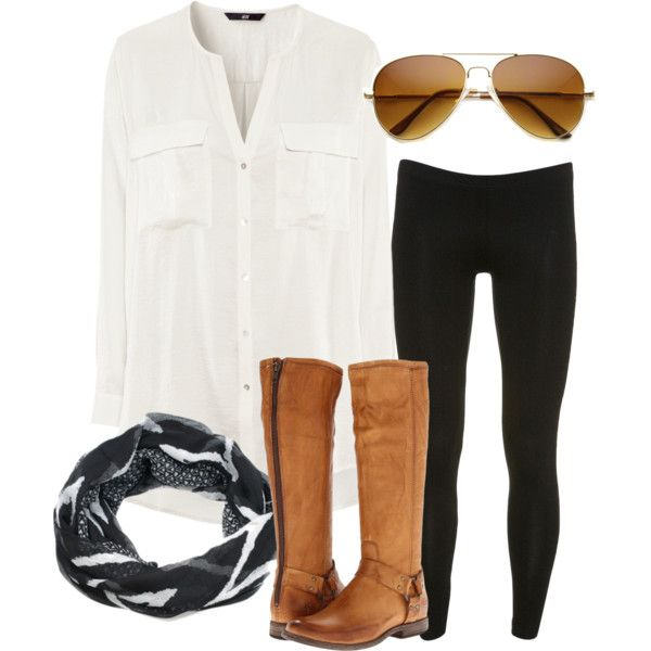 Super cute and simple! Dark jeans or leggings, sheer button up, tan aviators or any color you own, riding boots and infinity scarf!