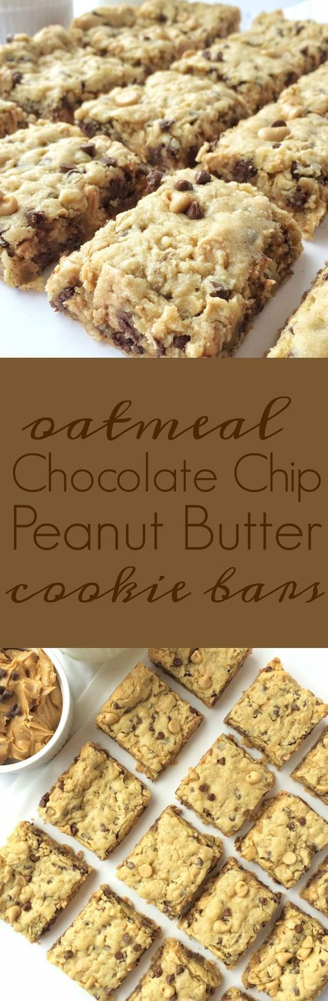 Soft cookie bars loaded with oatmeal, peanut butter, peanut butter chips, and chocolate chips. These are a peanut butter & chocolate lovers dream!