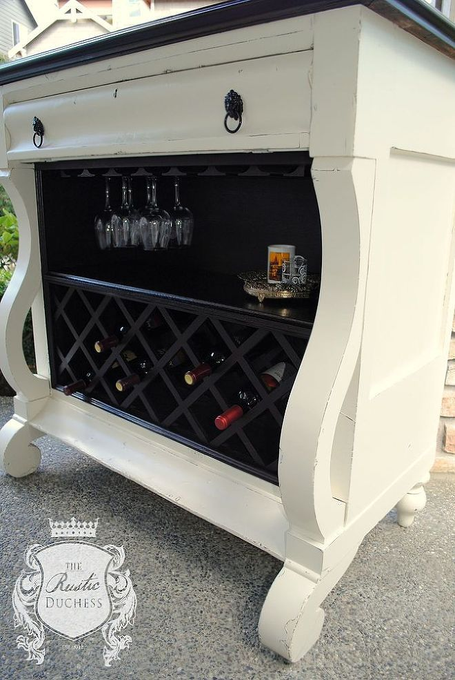 Stunning repurpose from old empire dresser to perfectly useful wine bar!