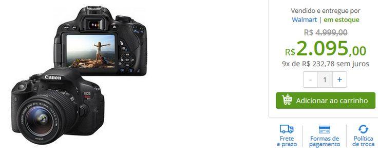 Câmera Digital Canon EOS Rebel T5i 18MP Flash Embutido  Lente EF-S 18-55mm << R$ 209500 em 9 vezes >>