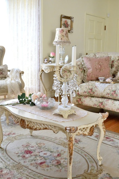 beautiful classy romantic living room interior with antique inspired vintage floral couch table candle chic dream