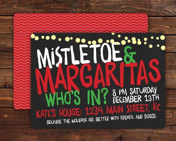 Printable Christmas Party Invitations Custom Cards Personalized Invitations Christmas Parties Holiday Parties Mistletoe Margaritas CD026