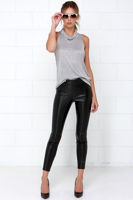 Whether you're hitting the movies or hopping on the back of your babe's motorcycle, the BB Dakota Alyssa Black Vegan Leather Pants are a go to
