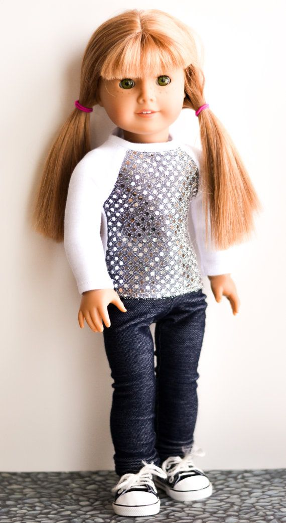 White Silver Sequin Reagan Baseball top for by EmilyHeatherDesigns