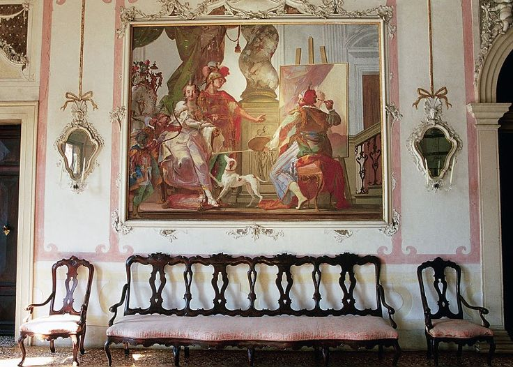 Ca' Marcello's ballroom, #Veneto, Italia. Giambattista Crosato released the #frescoes cycle in the ballroom on the main floor showing episodes in the life of Alexander the Great on the walls and an Olympus on the ceiling.