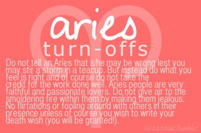 Aries turn offs