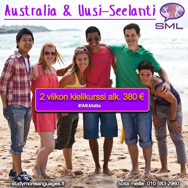✈️ KIELIMATKAT AUSTRALIAAN  Opiskele englantia Study More Languages kielikursseilla Australiassa ja koe elämää toisella puolella maapalloa. Nauti paikallisesta elämäntyylistä joko rannalla tai suurkaupungin sydämessä. Kaikki koulumme sijaitsevat kaupunkien keskustoissa ja mielenkiintoisimmissa kohteissa Australiaa. Valitse kielimatkasi majoituksesi joko isäntäperhe tai opiskelija-asuntola itsenäisempää kokemusta varten. http://www.studymorelanguages.fi/australia-ja-uusi-seelanti/ #SMLMatka