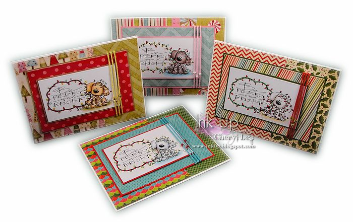 Ink Up: Be Merry and Bright Christmas Card Set using Tiddly Inks digital image, colored with Copics