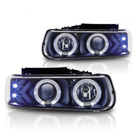 WinJet WJ10-0214-04 | 2000 Chevy Silverado Black Halo Projector Headlights for SUV/Truck/Crossover