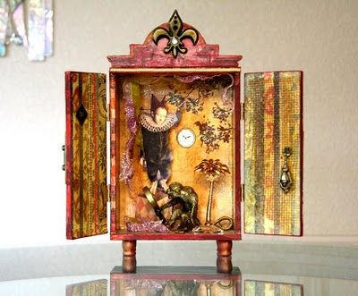 Cigar Box Art Projects | Cigar Box Shrines. What a great job!  I just love this!  What an interesting piece,  it draws you in.