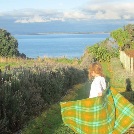 NZ Greenstone & Gold Rush wool throw by SquandererNoMore on Etsy, $70.00
