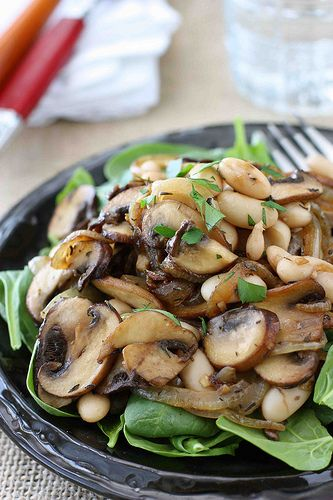 Mushroom, Caramelized Onion, and Cannellini Bean Salad