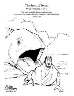 Jonah and the Big Fish. Coloring page, script and Bible